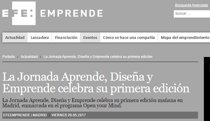 Noticia de la Jornada Aprende, Diseña y Emprende publicada por EFE Emprende