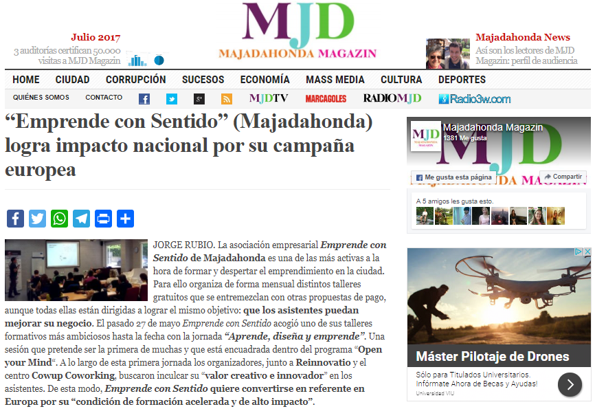 Noticia del resumen de la Jornada ADE publicada por MJD Magazin