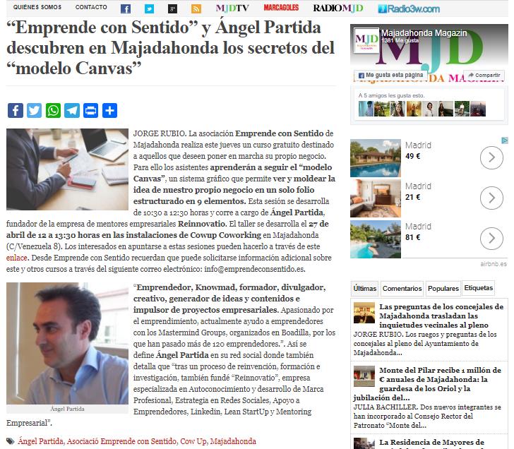 Noticia del taller de Angel Partida sobre el modelo Canvas publicada en MJD Magazin