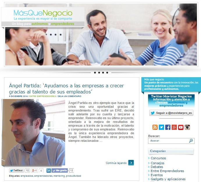 Imagen de la entrevista en el Blog MásQue Negocio